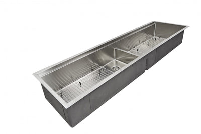 "72"" Double Bowl Undermount Ledge Sink with Grid"