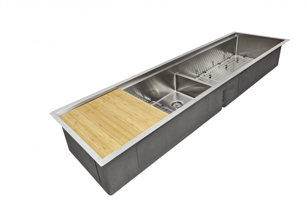 "72"" Double Bowl Undermount Ledge Sink with cutting board"