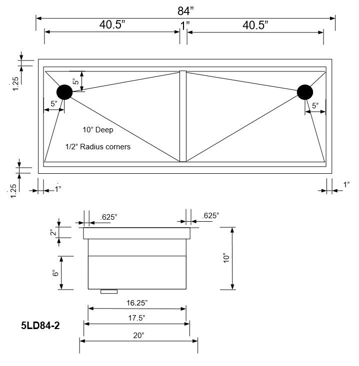 "1/2"" Radius 84"" Ledge Double Bowl Sink (5LD84)"