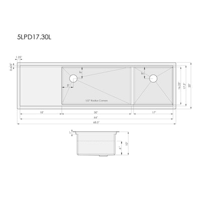Dimensions for undermount ledge kitchen sink with drainboard