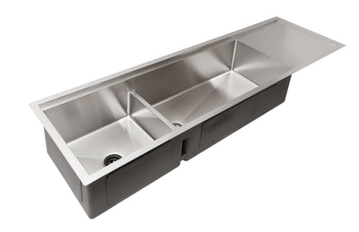 "68"" stainless steel undermount double bowl ledge drainboard sink"