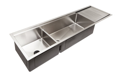 "68"" undermount double bowl ledge drainboard sink drying rack"