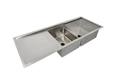 "52"" double bowl ledge sink with drainboard"