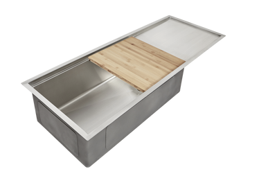 "27"" drainboard sink with ledge cutting board"