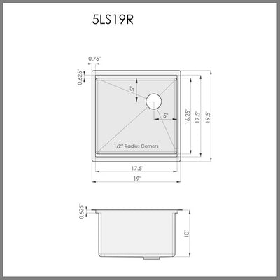 "Dimensions for 19"" ledge undermount kitchen sink"