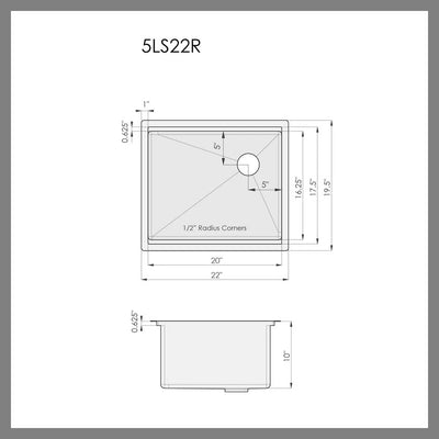 "Dimensions for 22"" ledge undermount kitchen sink"