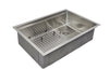 "28"" stainless steel ledge undermount sink with grid"