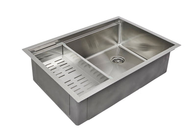 "28"" stainless steel ledge undermount sink with colander"