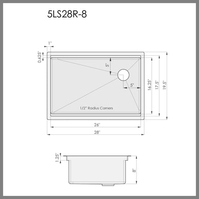 "Dimensions for 28"" ledge kitchen sink"