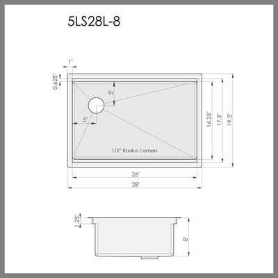"Dimensions of 28"" single bowl ledge kitchen sink"