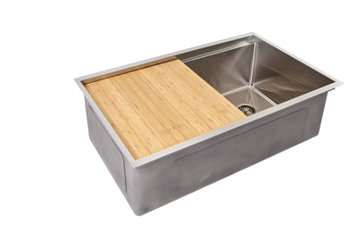 "31"" stainless steel ledge undermount sink with cutting board"