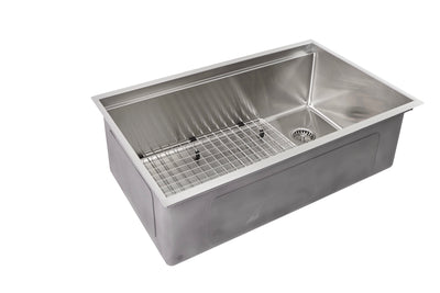 "31"" stainless steel ledge undermount sink with grid"