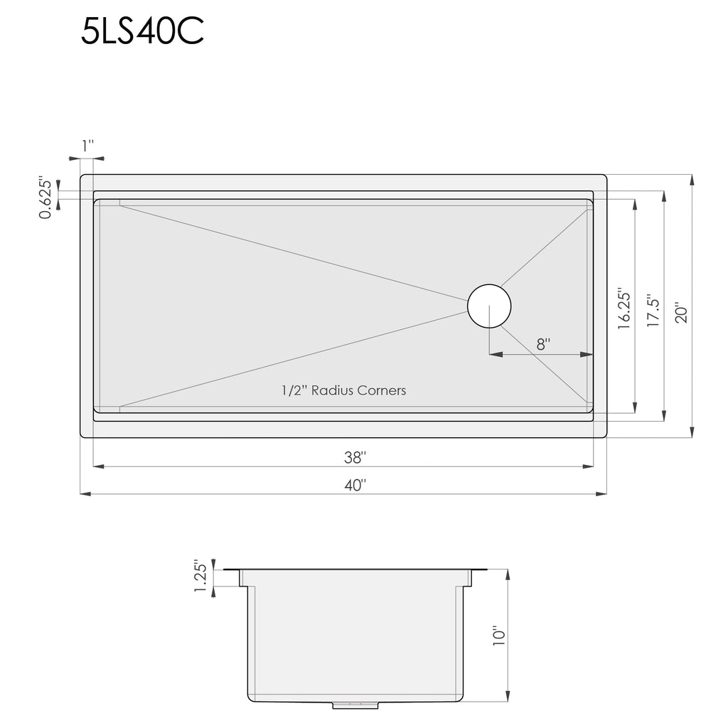 Dimensions for single bowl ledge kitchen sink