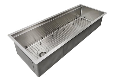 "50"" stainless steel undermount ledge sink with grid"
