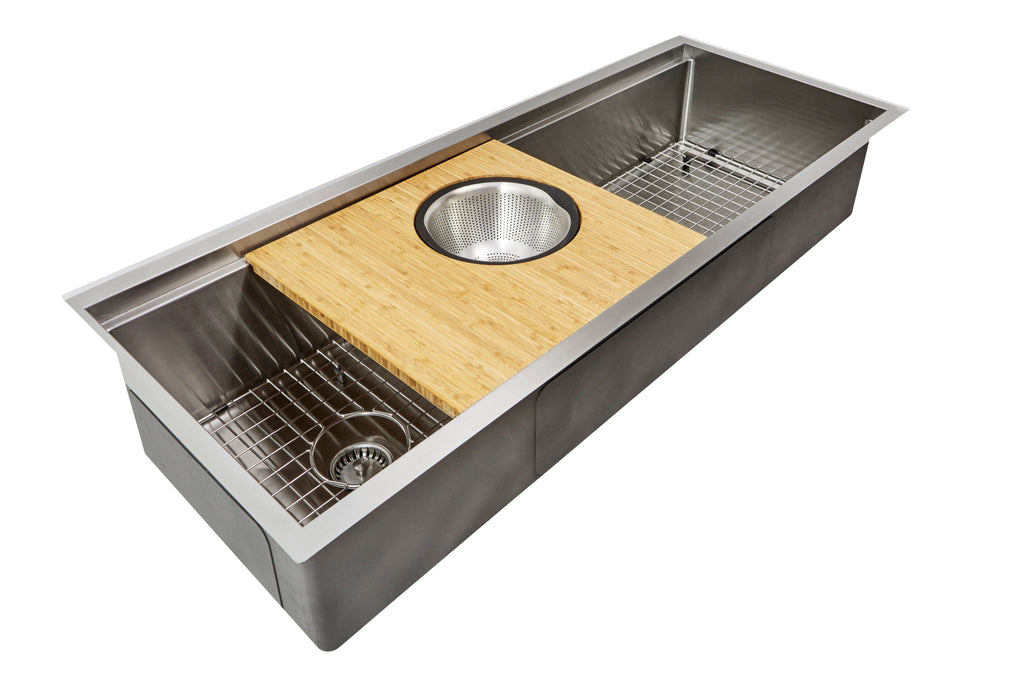 "50"" stainless steel undermount ledge sink with cutting board"
