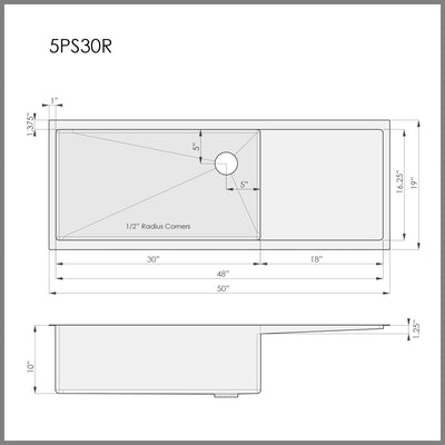 Dimensions for right hand drainboard kitchen sink