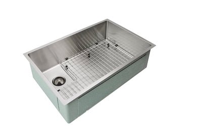 "28"" Single bowl sink with offset drain and grid"