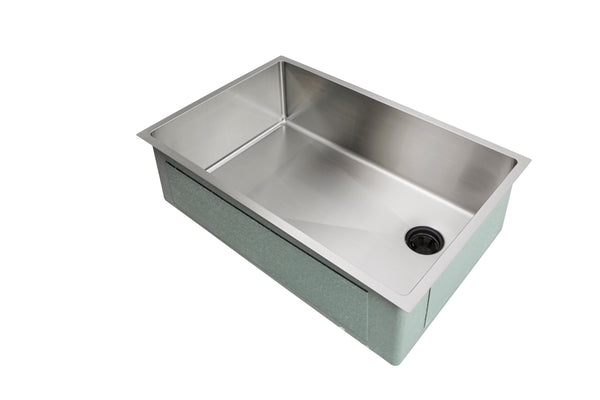 "28"" Undermount sink with offset drain"