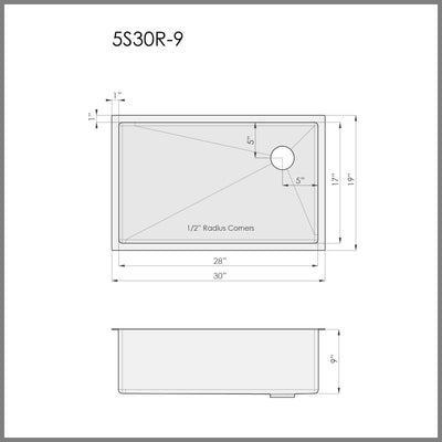 "Dimensions for 30"" single bowl kitchen sink with right offset drain"