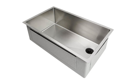 "30"" Undermount stainless steel kitchen sink with offset drain"