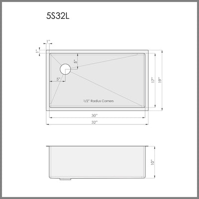 "Dimensions for 32"" single bowl kitchen sink with offset drain"