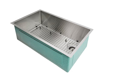 "33"" Undermount Stainless Steel Sink with grid"