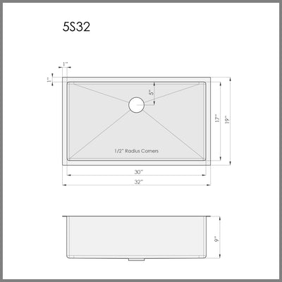 "Dimensions for 32"" single bowl undermount kitchen sink"