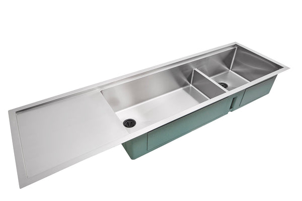 stainless steel drainboard undermount double bowl kitchen sink