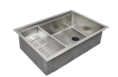 "33"" reversible ledge sink with offset drain and accessories"
