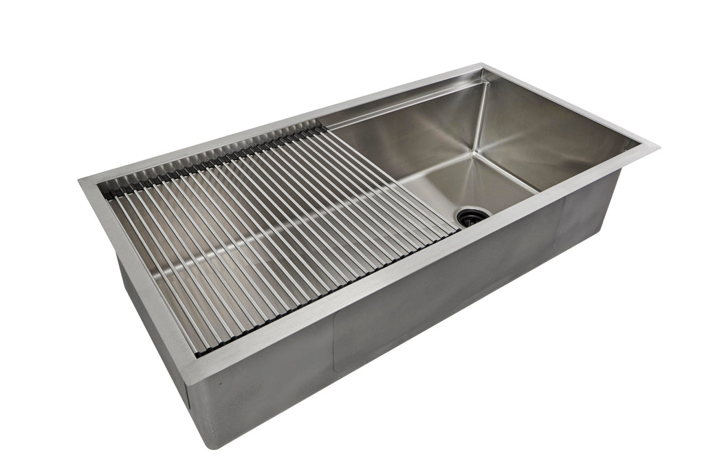 "40"" stainless steel ledge undermount sink with roll mat"
