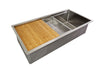 "40"" oversized stainless steel ledge undermount sink with cutting board"