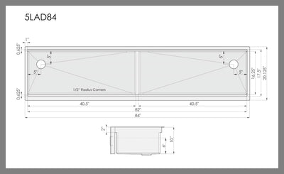 "84"" apron front ledge double bowl sink dimensions"