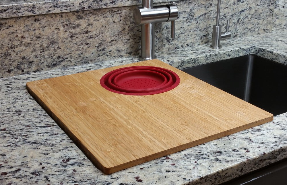Bamboo Cutting Board with Colander 18 x 15 (CB15c)