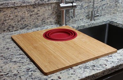 "15"" Bamboo Cutting Board with Silicone Colander (CB15c)"