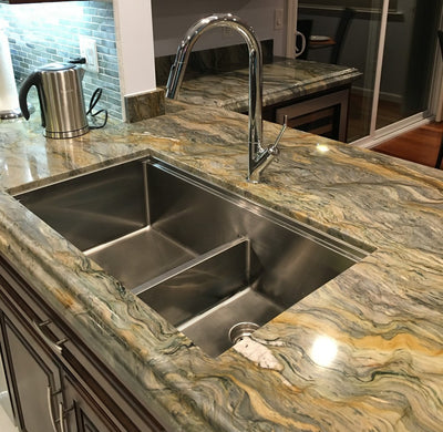 "34"" double bowl ledge sink"