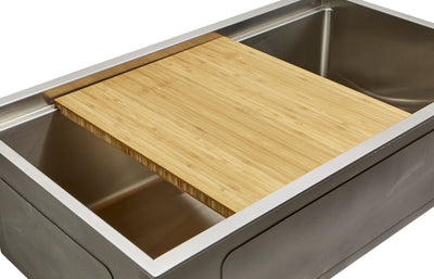 "15"" Ledge kitchen sink with handmade bamboo cutting board accessory"