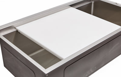 Ledge Sink with White Cutting Board