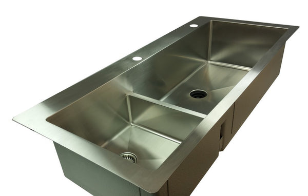 "1/2"" Radius 49"" Top Mount Double Bowl Sink  with low divide (TMD49)"