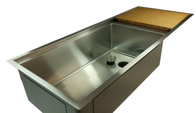 45 inch single bowl ledge sink with drainboard for 30 inch cabinet