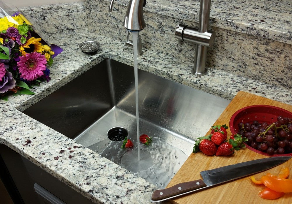 Classic Undermount Sink Single Bowl Offset Drain Left SL - Offset bathroom sink drain