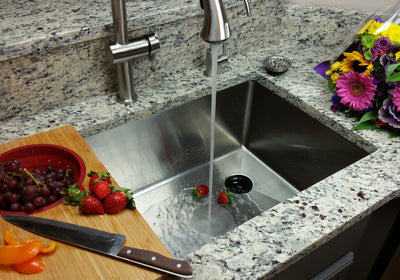 "33"" Stainless steel kitchen sink with offset drain"