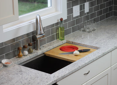 ledge sink cutting board with silicone colander