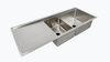 "34"" double bowl drainboard ledge sink workstation"