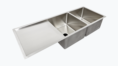 Double bowl undermount drainboard sink