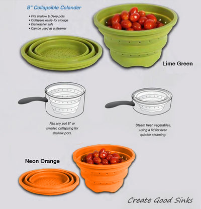 Silicone colanders with bamboo cutting board accessory