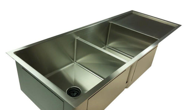 "1/2"" Radius 50"" Drainboard Double Bowl Sink With Low Divide  - Reversible   (5PD17.15c)"