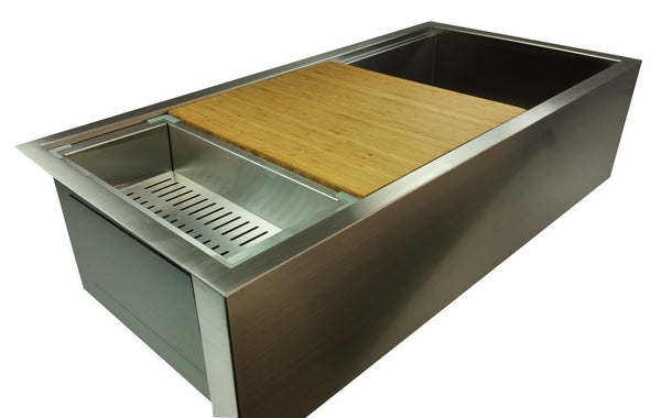"Zero Radius 39"" Ledge Double Bowl Apron Sink  (0LDA39)"