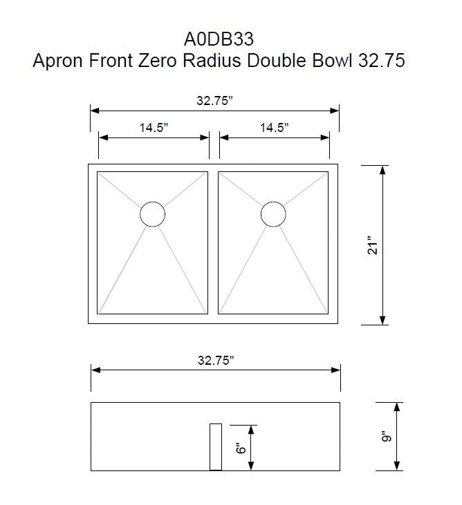 "Zero Radius 33"" Apron Front Double Bowl with Low Divide  (0AD33)"