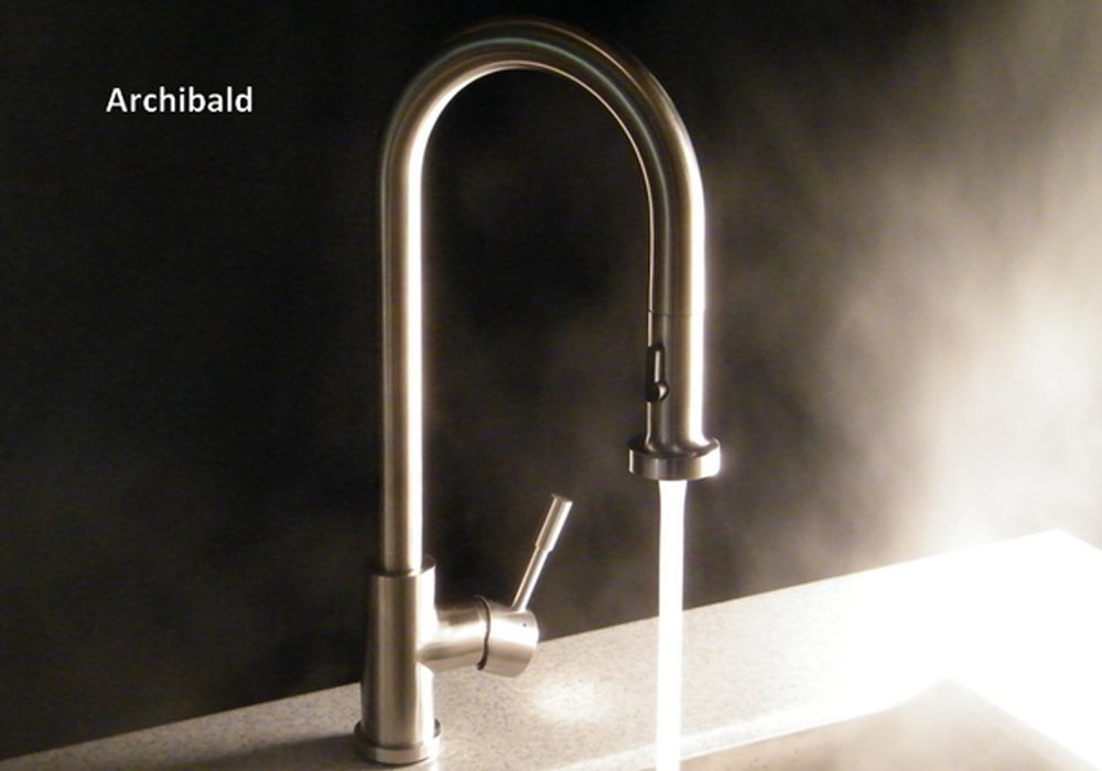 Archibald Kitchen Faucet  Solid 304 stainless steel with a brushed finish