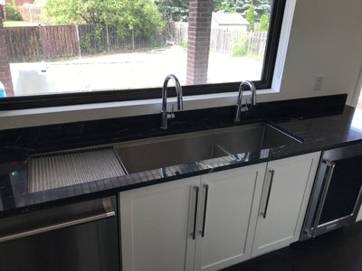 "68"" undermount stainless steel ledge drainboard sink installed"